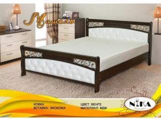 Кровать Мишель с ковкой и вставками из экокожи