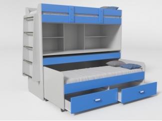 Синяя двухъярусная кровать с ящиками