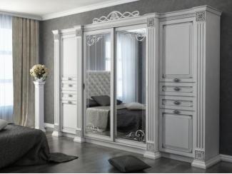 Шкаф в спальню Береза цвет белый-патина серебро - Мебельная фабрика «ARVA»