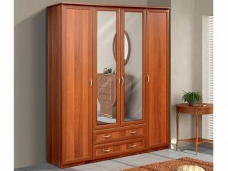 Шкаф для платья и белья 4-х створчатый с 2-мя ящиками и зеркалами - Мебельная фабрика «Актив М»