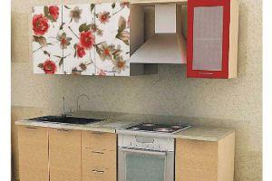 Кухонный гарнитур Красный орнамент в льне - Мебельная фабрика «Союз-мебель»