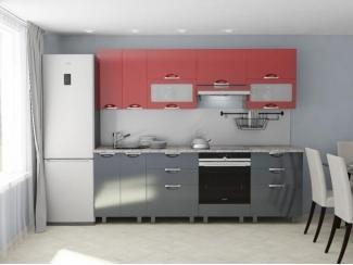 Кухня прямая Мадена рубин серый