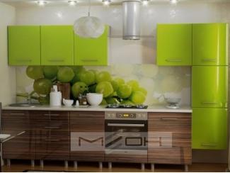 Зеленая прямая кухня ЛМДФ-1 - Мебельная фабрика «Меон», г. Волжск