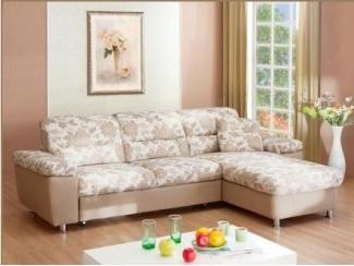 Светлый угловой диван с цветами Вальяж П - Мебельная фабрика «Янтарь»