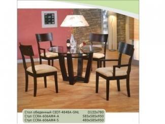 Стол обеденный со стеклянной круглой столешницей - Мебельная фабрика «Бис»