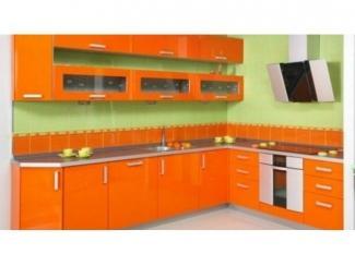 Оранжевая угловая кухня Пластик  - Мебельная фабрика «Вектра-мебель»