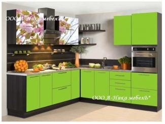Зеленая кухня с фотопечатью Весна - Мебельная фабрика «А-Ника», г. Ульяновск