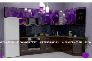 Кухонный гарнитур с фотопечатью Ирисы - Мебельная фабрика «Александрия», г. Ульяновск