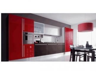 Красная прямая кухня - Мебельная фабрика «Алиса»