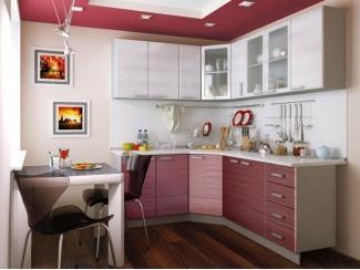 Угловая кухня Титан белый - Титан красный - Мебельная фабрика «Disavi»