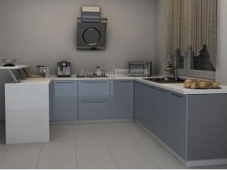 Бело-синяя кухня интересного дизайна Олимп 2 - Мебельная фабрика «Аркадия-Мебель»