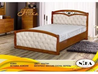 Кровать Ника с ковкой и вставками из экокожи