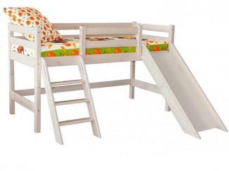 Кровать Соня низкая с наклонной лестницей (Вариант 14)