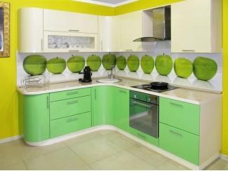 Зеленый кухонный гарнитур Орхидея  - Мебельная фабрика «Виктория», г. Ульяновск