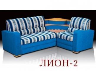 Полосатый угловой диван в синем цвете Лион 2 - Мебельная фабрика «Альянс-М»
