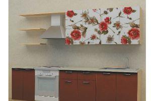Кухонный гарнитур Красный орнамент в капучино - Мебельная фабрика «Союз-мебель»