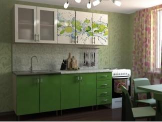 Зеленая кухня с фотопечатью Лайм 2 - Мебельная фабрика «Натали»