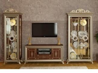 Гостиная с витринами Версаль орех  - Мебельная фабрика «Мэри-Мебель»