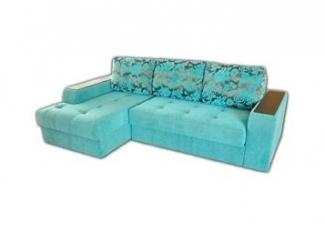 Голубой диван с оттоманкой Эдинбург