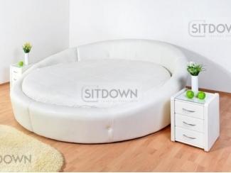 Круглая кожаная кровать Миранесс  - Мебельная фабрика «Sitdown»