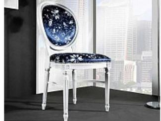 Стул P66 белый с патиной и серебряными деталями / ткань UPH GENE 3057 LIGHT BLUE