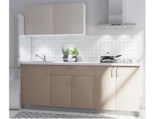Небольшая кухня с кофейным фасадом Марбл  - Изготовление мебели на заказ «Кухни ЧУ»