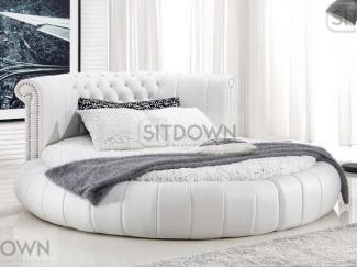 Круглая кожаная кровать Шабли  - Мебельная фабрика «Sitdown»