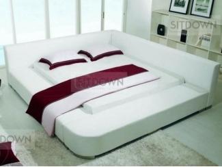 Большая кожаная кровать со спинками Ева  - Мебельная фабрика «Sitdown»