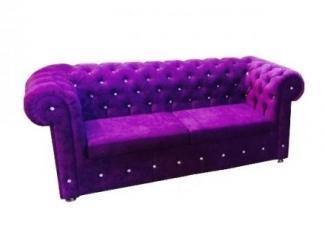 Фиолетовый диван с каретной стяжкой  - Мебельная фабрика «Гарни», г. Волгоград