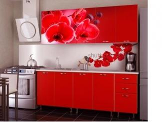Прямая кухня Орхидея Красная  - Изготовление мебели на заказ «Союз»