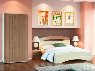 Спальный гарнитур с контрастным сочетанием светлых корпусов и тёмных фасадов - Мебельная фабрика «Фран»