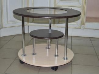Стол журнальный круглый с хромированными ножками - Изготовление мебели на заказ «Гарни»
