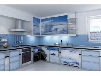 Красивая угловая кухня с фотопечатью  - Мебельная фабрика «Перспектива»