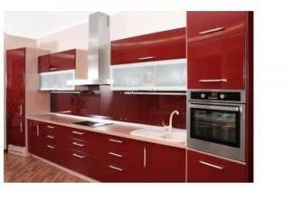 Прямая красная кухня - Мебельная фабрика «Папа Карло»