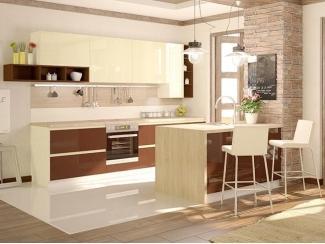 Светлая кухня с островом Латте Small - Мебельная фабрика «Cucina»