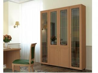 Шкаф распашной 4-х дверный  комбинированный с витриной ПРЕМЬЕР-2 - Мебельная фабрика «Баронс»