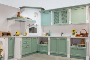 Кухня Афродита  зеленая с белой патиной - Мебельная фабрика «Мебель Черноземья»