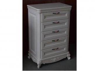 Белый комод с пятью ящиками  - Мебельная фабрика «Альфа-Пик»