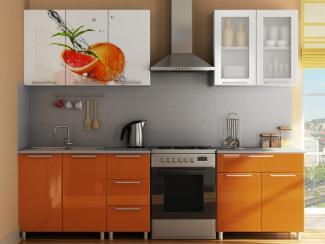 Кухня прямая радуга с фотопечатью Апельсин - Мебельная фабрика «МИГ»