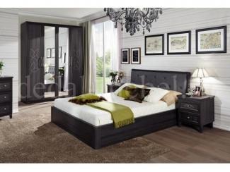 Темный спальный гарнитур Лотос  - Мебельная фабрика «Дедал»
