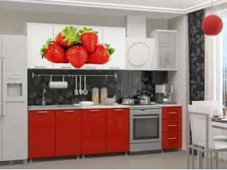 Кухня ЛДСП с фотопечатью Клубника - Мебельная фабрика «Альбина»