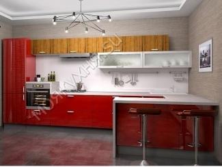 Кухня пластик глянец - Орех Антик/Бордовый  - Мебельная фабрика «Моя кухня», г. Санкт-Петербург