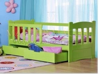 Зеленая кровать с ящиками Кдо 24 - Мебельная фабрика «Массив мастер», г. Екатеринбург