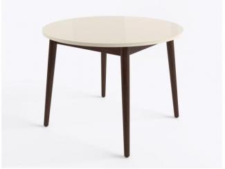 Стол круглый раздвижной со стеклом БЕЙЗ МХ  - Мебельная фабрика «MAMADOMA»