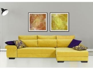 Желтый угловой диван Монако Люкс