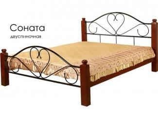 Кровать Соната из массива сосны с элементами ковки - Мебельная фабрика «Массив»