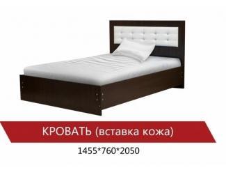 Кровать со вставкой из кожи - Мебельная фабрика «Мистер Хенк»
