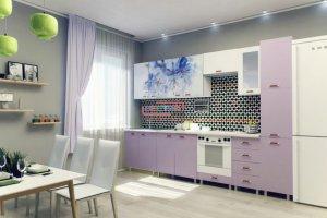 Кухня Фиалка фото ЛДСП Фиолетовый / Синие цветы - Мебельная фабрика «Вестра»