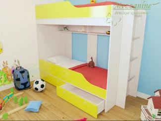 Кровать детская Твинс с лестницей Юнга - Мебельная фабрика «Мезонин мебель»
