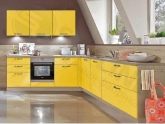 Угловая кухня в желтом цвете Вудколор - Мебельная фабрика «SL-Мебель»